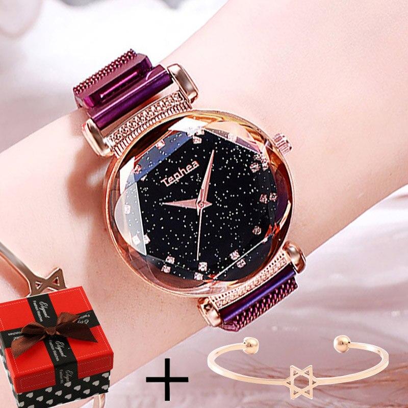 Luxury Purple Ladies Wrist Watch Women Starry Sky Magnetic Watch Waterproof Female Wristwatch For relogio feminino montre femme