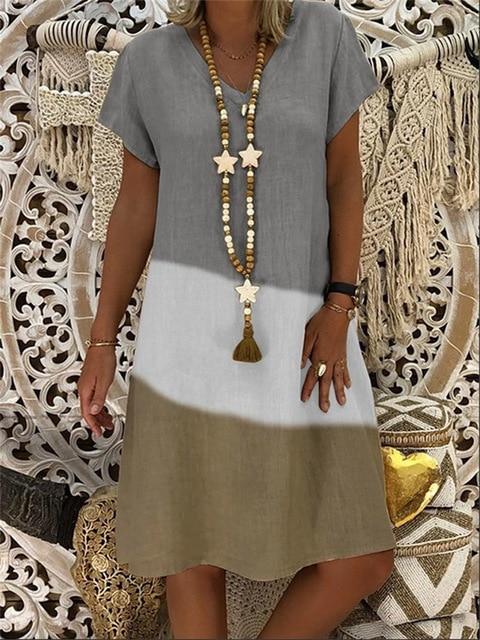 S-5XL Plus Size Dress Summer Women Vintage V-neck Short Sleeve Midi Dress Retro Printed patchwork Loose Beach Casual Dresses 3