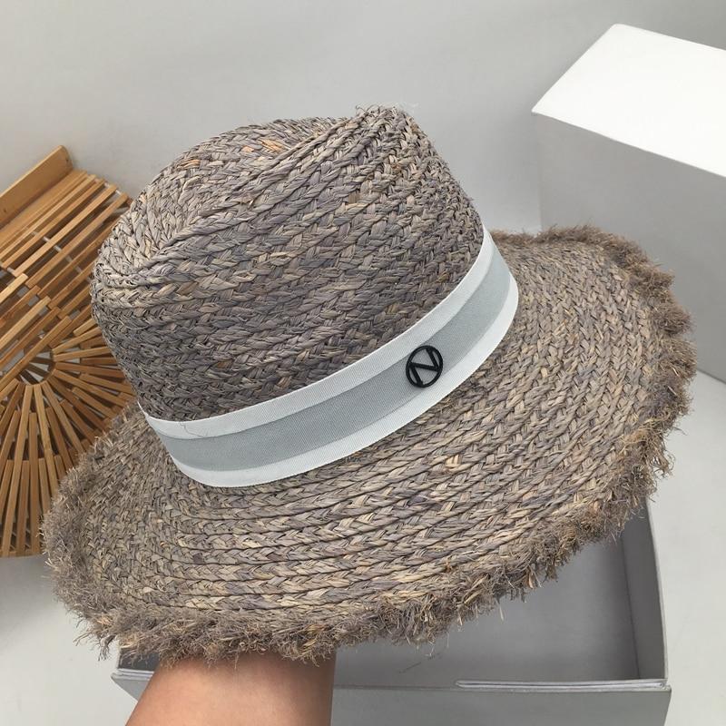 Summer New Straw Hat Sir Female Fashion Lafite Grass Han Edition Joker Hat Ins Tide Beach Resort Sun Sun Hat