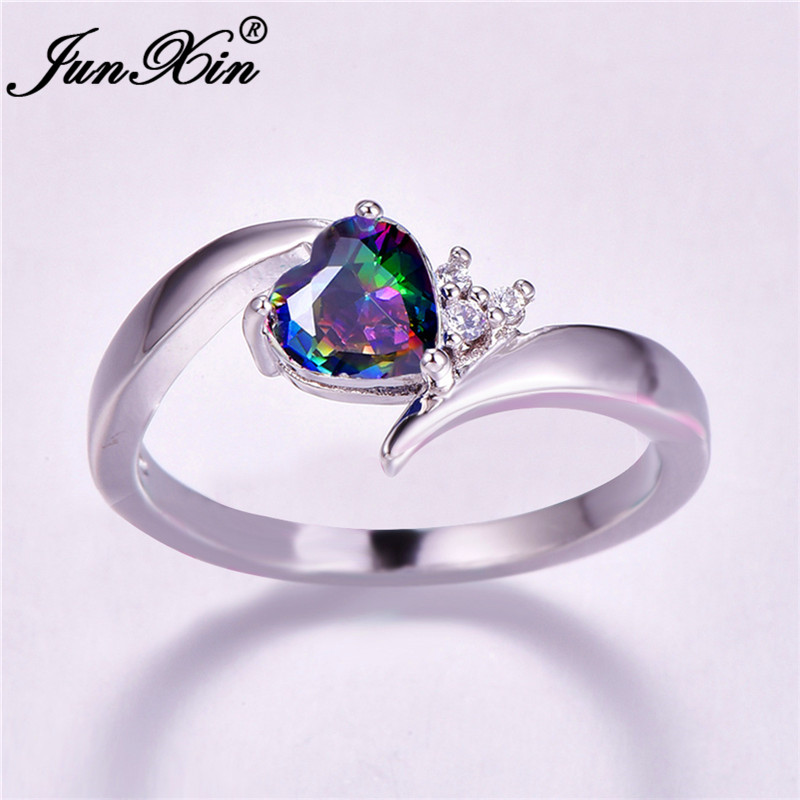 Heart-Rings Zircon Wedding-Jewelry Gifts Crystal Rainbow Blue-Stone Engagement Promise