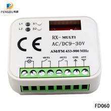 Automatyczne skanowanie wielu częstotliwości 300-900 MHz uniwersalny odbiornik drzwi garażowych 2 kanałowy odbiornik AC DC 9-30 V 433 92MHz 868 3MHz odbiornik tanie tanio FD060 300-900mhz AC DC 9-30V Aprimatic Remote Receiver