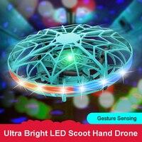 Aereo UFO volante automatico quadricottero elettronico modello Spinner a mano Fidget sensore di induzione disco volante Drone regali di natale