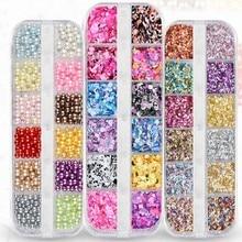 Набор различных ногтей золотые блестки смешанные зеркало / платье-русалка круглый сахар весы украшения инструменты ногти