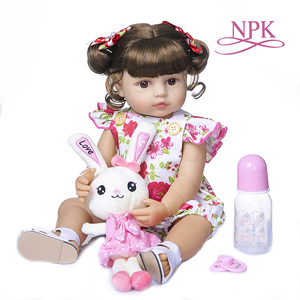NPK 55CM bebe doll reborn toddler girl doll full body silicone soft real touch princess doll(China)