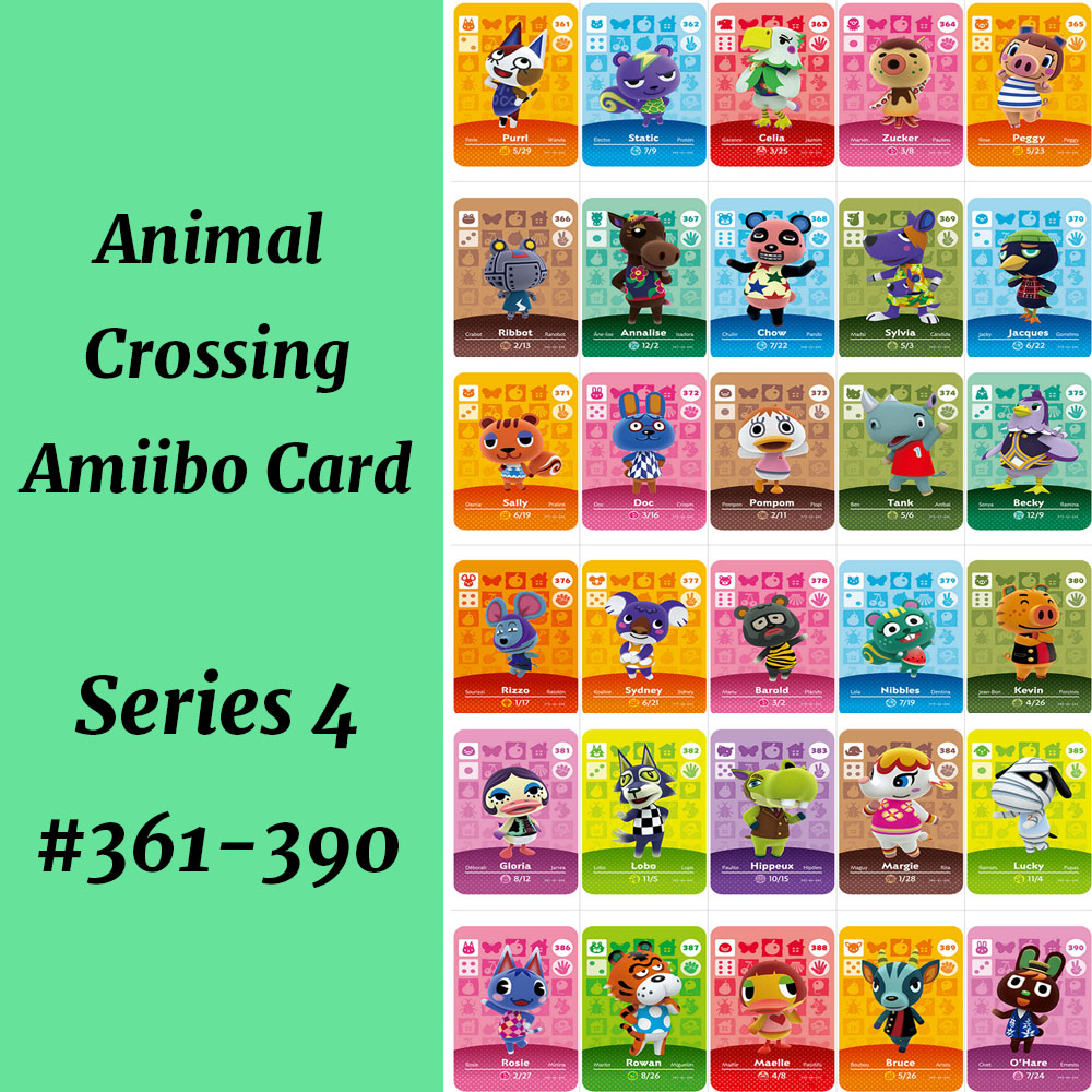 Series 4(361-390) Animal Crossing Card Ribbot Annalise Lobo Zucker Rosie Character Card For Switch NS Games