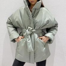 CP-Parkas de cintura recolectada informales para mujer, abrigos sencillos a la moda, chaquetas de algodón con cuello alto elegantes para primavera