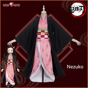 Image 2 - In stock Uwowo Anime Costume Demon Slayer Cosplay Nezuko Kimono  Costume Women Kimetsu no Yaiba Women Pink Kimono Halloween