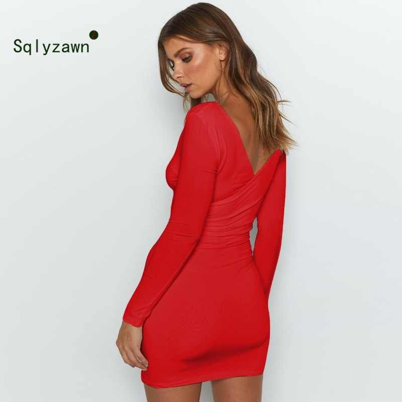 Weibliche OL Langarm Mode V-ausschnitt Solide Sexy Bodycon Kleid Frauen Herbst Winter Casual Club Party Fleece Warme Kleider vestidos