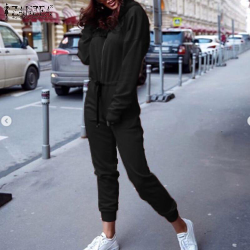 ZANZEA 2020 Autumn Women Casual Long Sleeve Jumpsuits Zipper Front Pockets Overalls Jumpsuit Hoodies Loose Rompers Long Pants
