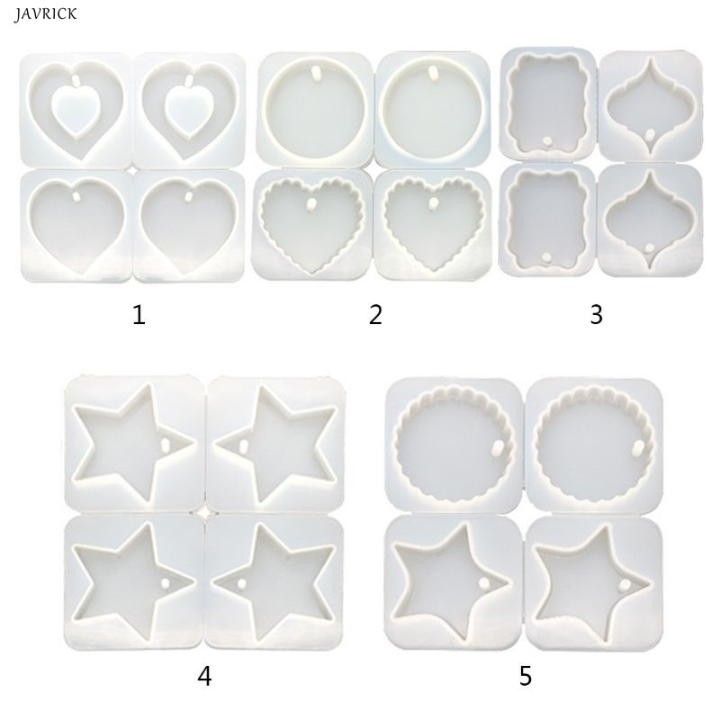 4 Pcs DIY Crystal Epoxy Hanging Jewelry Making Mould Heart Shaped Round Wave Handmade Pendant Molds Resin Gypsum Silicone Mold