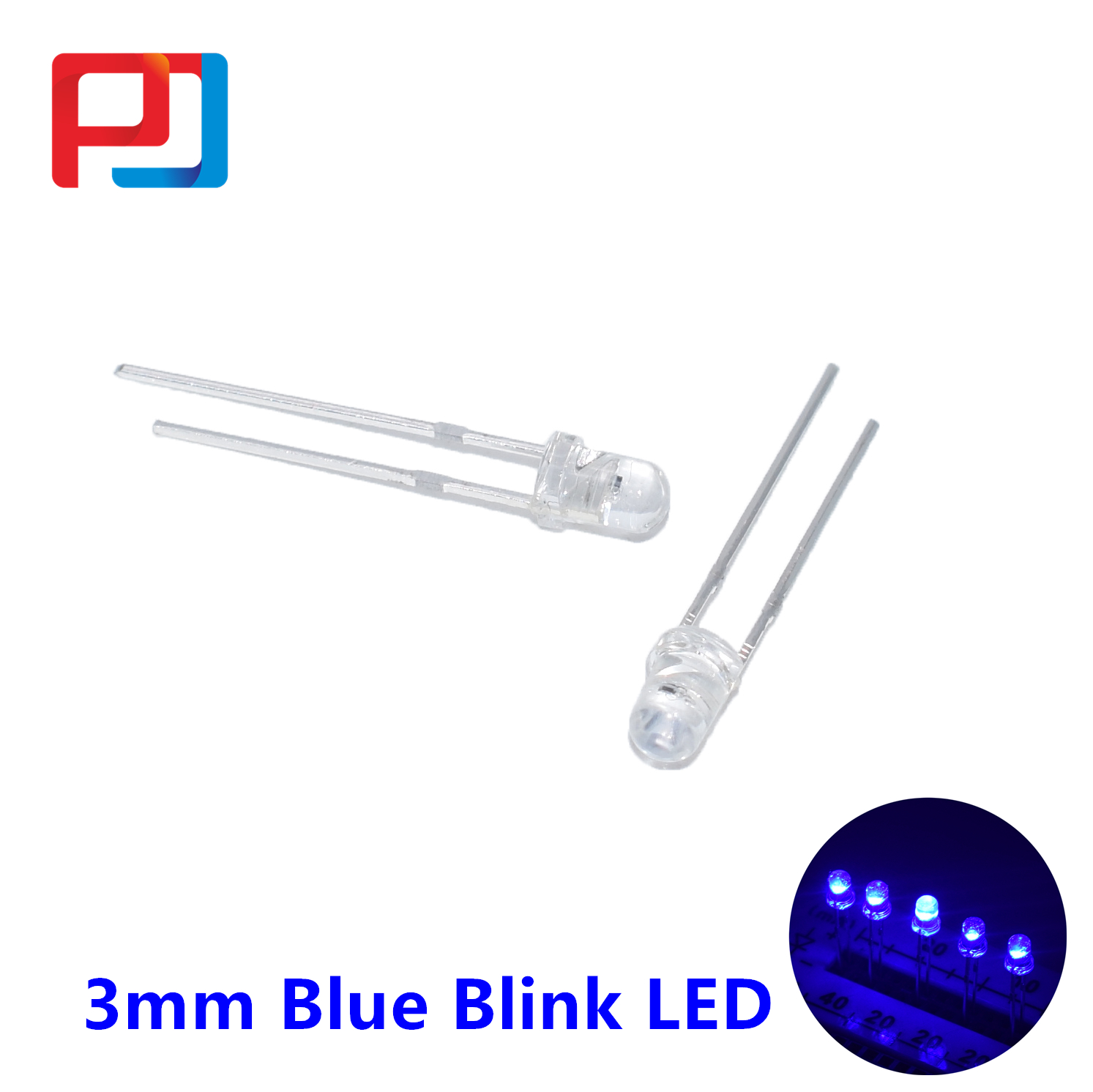 Othmro 30 pcs Red Blue 3mm LED Diode Lights Lighting Bulb Lamps Round Head Common Cathode 3 Pin LED Diode