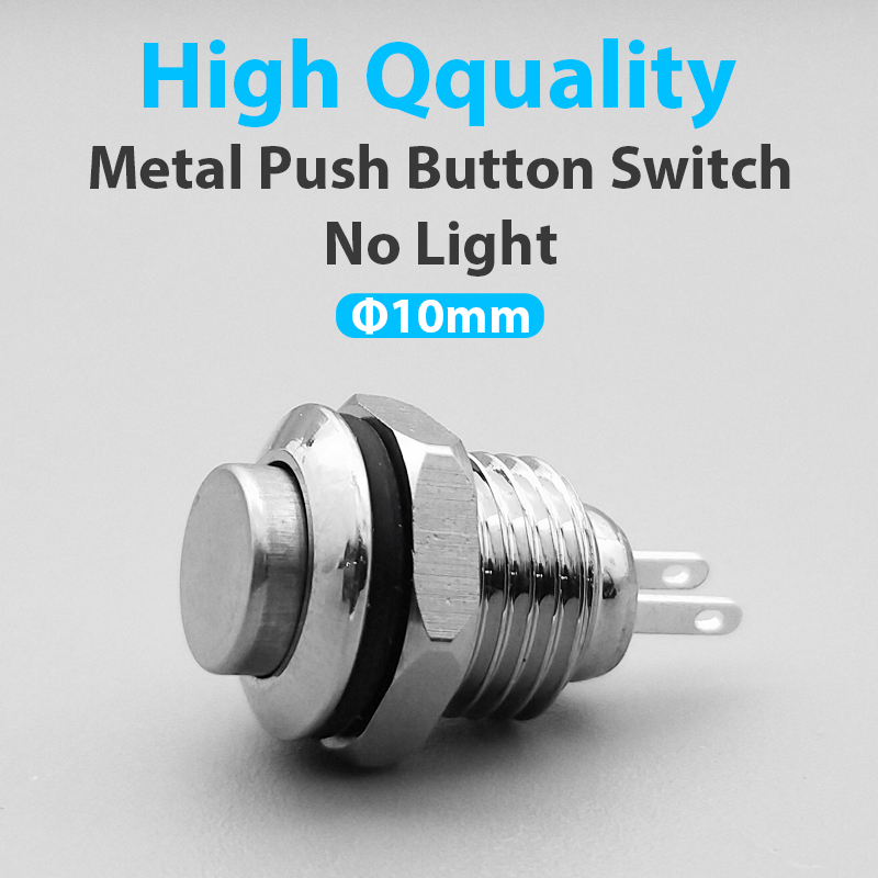 New 1pc Mini 10MM 2pin Panel Hole Metal Button Switch Power Push Button High Head Self Reset Soldering IP67 1NO