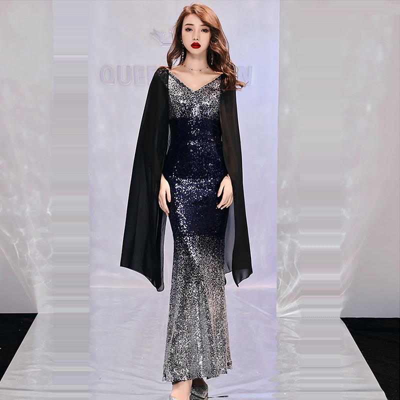 Evening Dress Sleeveless Sequin Robe De Soiree Backless Zipper Women Party Dresses Double V-neck  Formal Evening Gowns 2019 F161