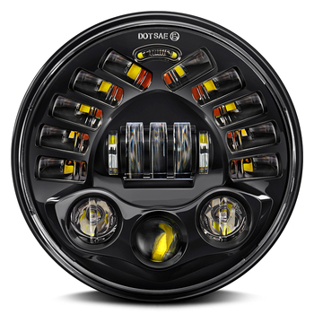 1PCS Black/Chrome 7Inch LED Adaptive Motorcycle Headlight with Hi/Lo Beam