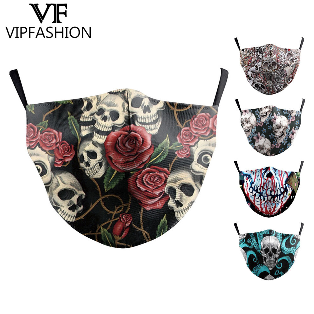 Adults Unisex Mouth Mask Fashion Skull Printed Face Mask Bts Anti-Dust Washable Reusable Protective Bacteria Proof Flu Masks