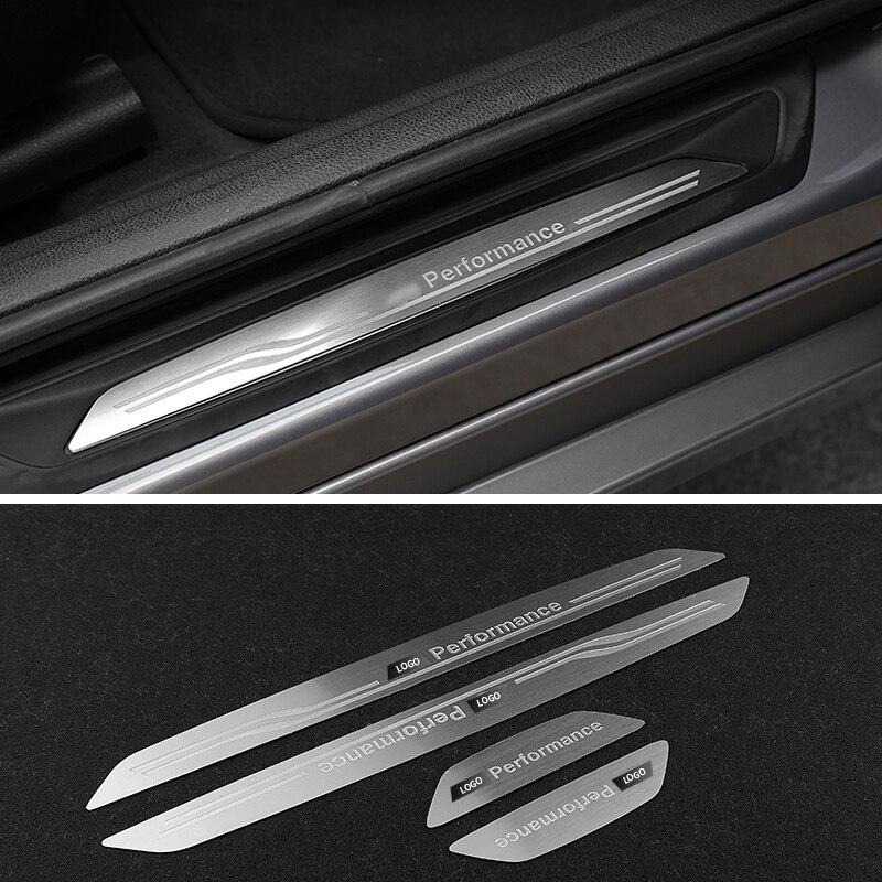 Voiture porte pédales seuil seuil plaque côté bienvenue panneau autocollants décoration intérieure pour BMW X1 X3 X5 X6 E60 E90 F25 F30 F32 F34 F35