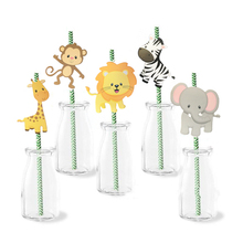 LOYPA Birthday Party Decoration Kids Jungle Animal Environmental Paper Pipette Unicorn Theme Drinking Straw