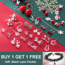 Xmas 100% 925 Sterling Silver Christmas Earrings Ball Snowflake Santa claus Christmas Tree Stud Earring For Women Girls Gift snowflake santa claus gift leggings
