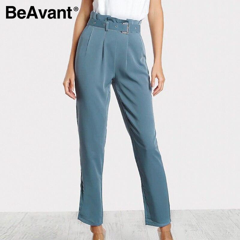 BeAvant New Female Long Pants 2020 Spring Summer Fashion Ladies Office Pants Trousers High Waist Belt Pants Plus Size Women