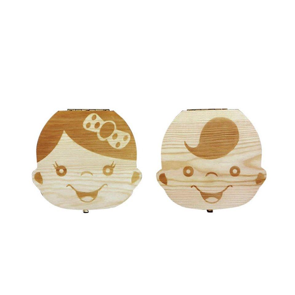 SZXCX Wooden Baby Kids Tooth Storage Box Baby Teeth Fetal Hair Umbilical Cord Organizer Infant Souvenir Box