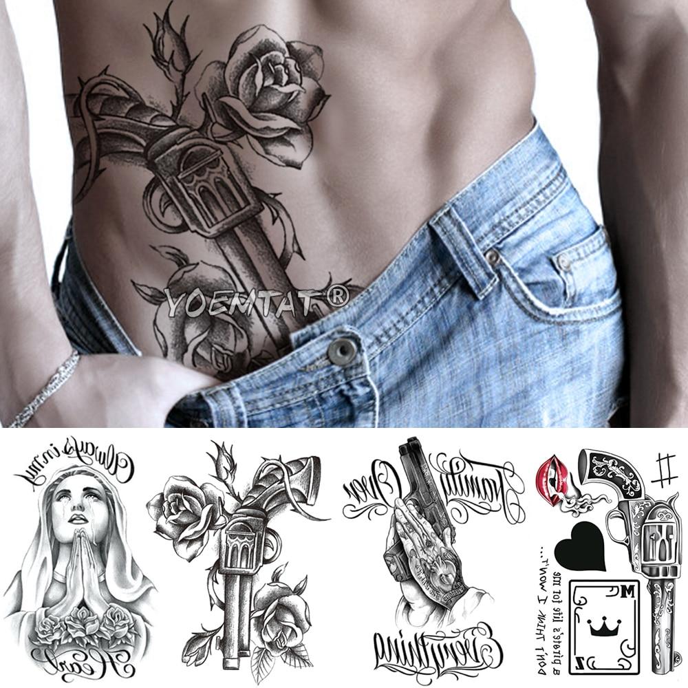Praying Spades Arm Temporary Tattoo Sticker Gun Rose Flower Waterproof Tatto Virgin Mary Body Art Fake Tatoo Men Women