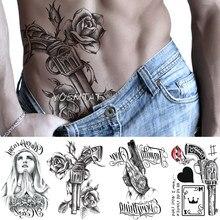 Tatto virgem maria corpo arte falso tatoo tatuagem tatuagem temporária arma rosa flor à prova dtatágua