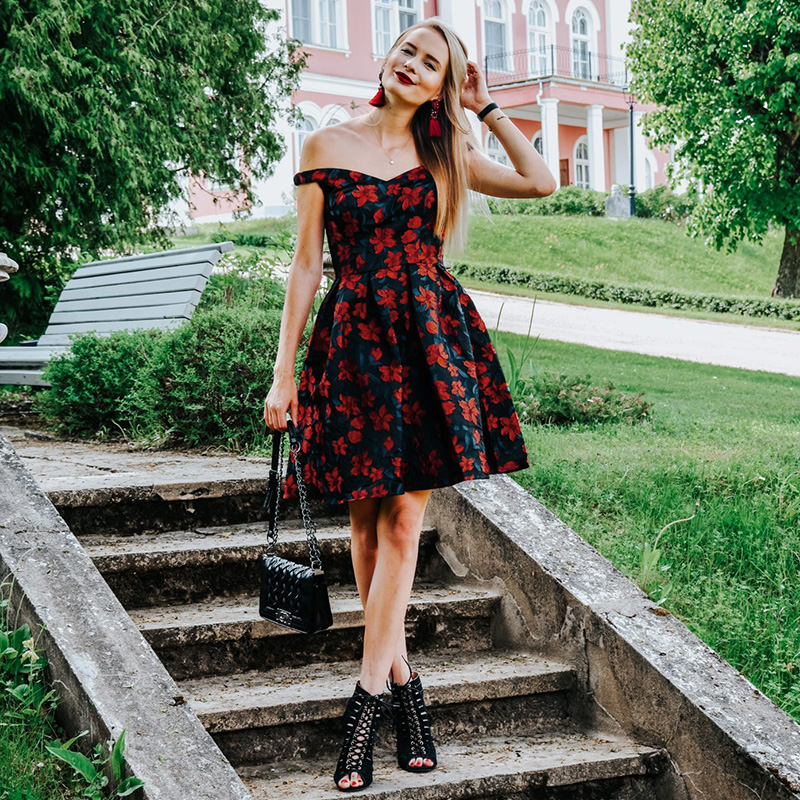 2019 New Fashion Retro Off Shoulder Ever Pretty EP05947 Dresses Women's Flare Party Dresses Floral Print robe Cocktail Dresses