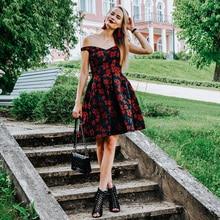2020 새로운 패션 레트로 어깨 떨어져 예쁜 EP05947 드레스 여성 플레어 파티 드레스 꽃 인쇄 가운 칵테일 드레스