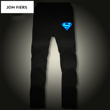 Mens Straight Pants Superman Superhero Bodybuilding Trousers Luminous Sweatpants Joggers Spring Autumn Sporting Clothing
