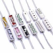Несколько дизайн из нержавеющей стали прямоугольные медальоны для ароматерапии Духи Эфирное масло ожерелье с кулоном-диффузором ювелирные изделия