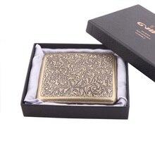 Винтаж металлическая латунь сигареты чехол с подарочной коробке контейнер 20 шт. сигареты обычного размера держатель для табака карманная к...
