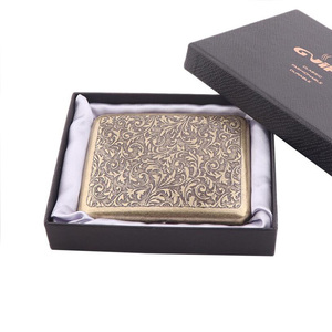 Vintage Metal Brass Cigarette Case with Gift Box Container 20 Pcs Regular Size Cigarettes Tobacco Holder Pocket Box Storage(China)