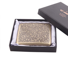 Vintage Metal Brass Cigarette Case with Gift Box Container 2