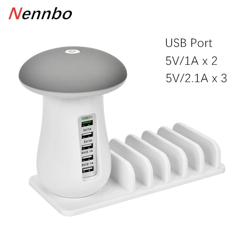 Chargeur rapide multi-ports lumière champignon QC3.0 Charge rapide pour téléphone intelligent + lampe à LED + Station de Charge USB Dock 5V 2.1A EU US