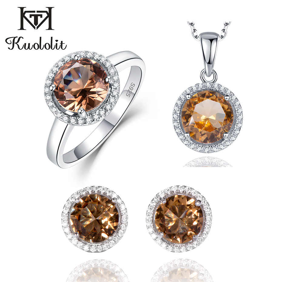 Kuololit Zultanite Gemstone Diaspore Jewelry Set for Women Solid 925 Sterling Silver Ring Earrings Necklaces Color Change Stone