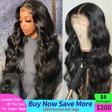 Perruque Lace Frontal Wig Body Wave brésilienne naturelle, cheveux humains, 4x4, 13x4, pre-plucked, pour femmes africaines