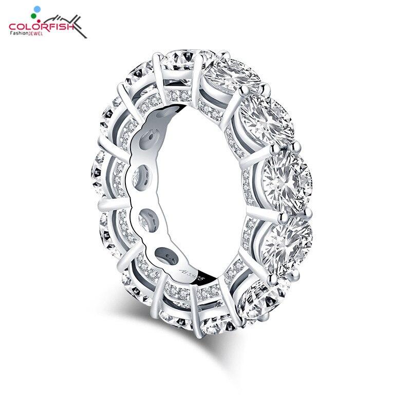 COLORFISH rond coupe 6mm solide 925 en argent Sterling éternité anneaux de mariage de luxe Sona bijoux de fiançailles pour les femmes