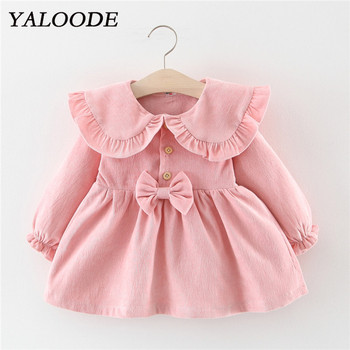 Spring Autumn Baby Dress Corduroy Bow Baby Girl Dress Cotton Long Sleeve Newborn Infant Toddler Clothes Princess Party Dress girl dress baby clothing spring autumn new style floral girl princess dress in long sleeve retro
