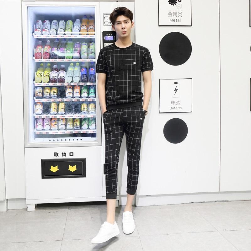 Autumn MEN'S Short-sleeved T-shirt Capri Pants Two-Piece Set Korean-style Plaid Teenager Leisure Sports Suit Fashion