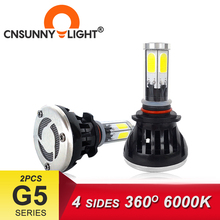 4면 360 LED 9006/HB4 9005/HB3 COB 자동차 헤드 라이트 전구 60W 8000Lm 9004 9007 H1 H3 안개등 6000K 자동 Foglights 액세서리
