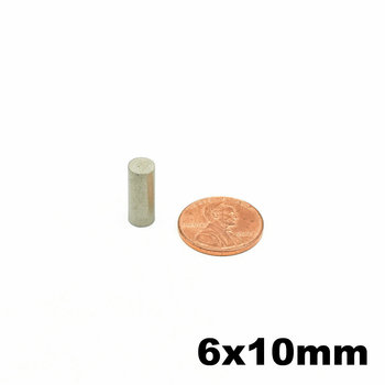SmCo Magnet Thin Cylinder Diameter Dia. 6x10 mm Grade YXG28H 350 Degree C High Temperature Permanent Rare Earth Magnets 50pcs