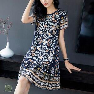 100% naturalny jedwab kobiety 2020 letnie sukienki elegancki O-neck z krótkim rękawem drukuj Ruffles luźny prawdziwy czysty jedwab pani sukienka syrenka