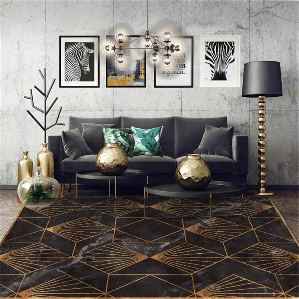 Wishstar Black Gold Marble Modern Luxury Carpet Living Room Green Geometric Entrance Carpet Vintage Floor Carpet For Bedroom Carpet Aliexpress