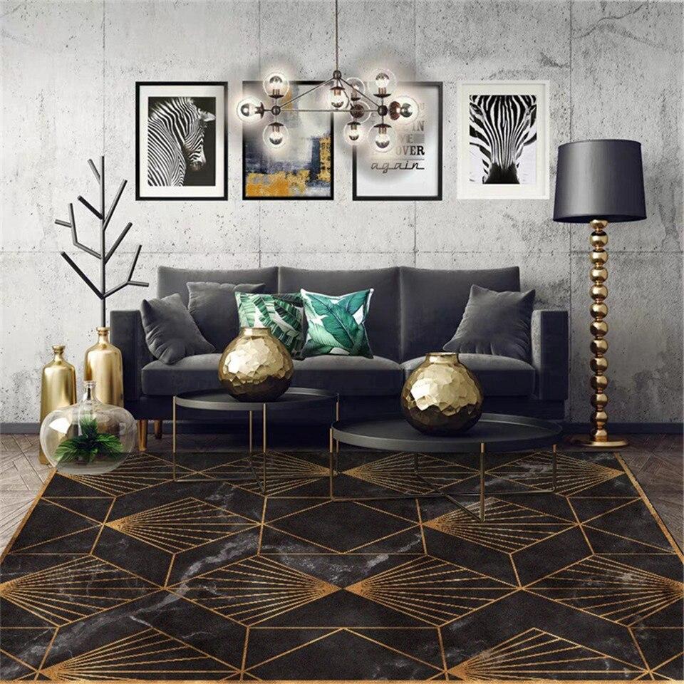 Wishstar Black Gold Marble Modern Luxury Carpet Living Room Green Geometric Entrance Carpet Vintage Floor Carpet For Bedroom