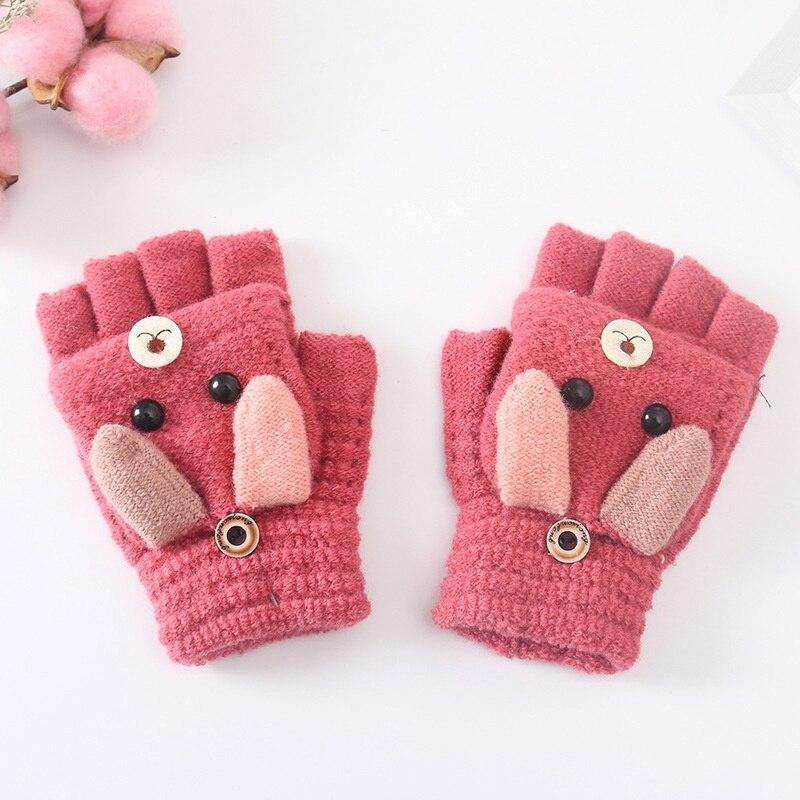 Милые детские вязаные перчатки с медведем Зимние теплые детские перчатки с половинкой пальцев для мальчиков и девочек с откидной крышкой мягкие детские варежки для От 3 до 10 лет - Цвет: Red