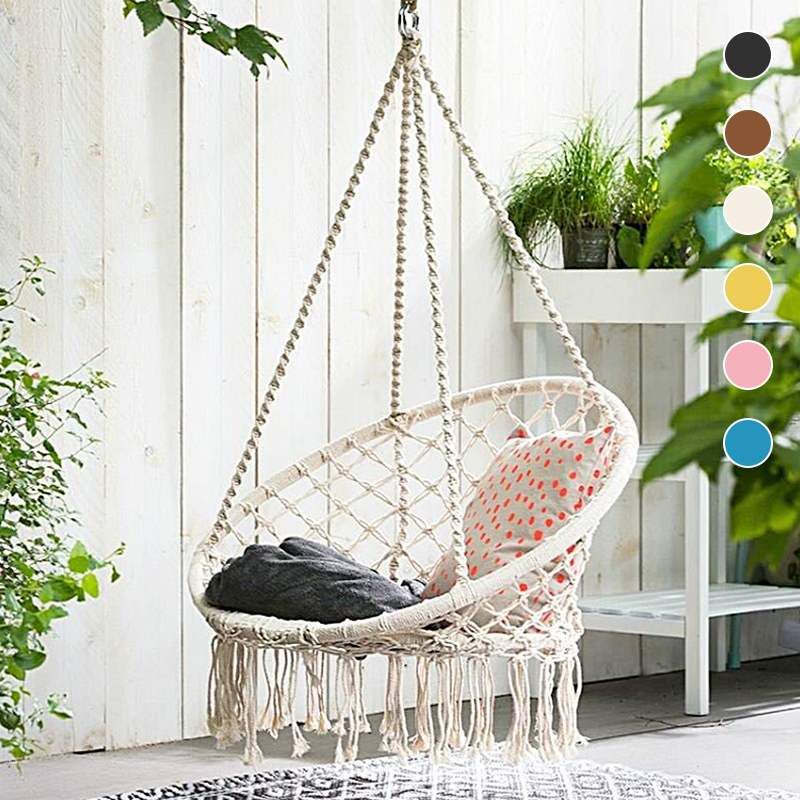 120 x80x60cm Round Hammock Chair Outdoor Indoor Dormitory Bedroom Yard For Child Adult Swinging Hanging Safety Chair Hammock