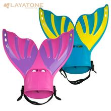 LayaTone Snorkeling Fins Diving Adult Short Scuba Swimming Shoes Swim Fins Foot Flipper Diving Fins with Heel Water Sports profession adult kids swimming fins snorkeling foot flipper diving fins beginner portable short frog shoes swimming equipment a