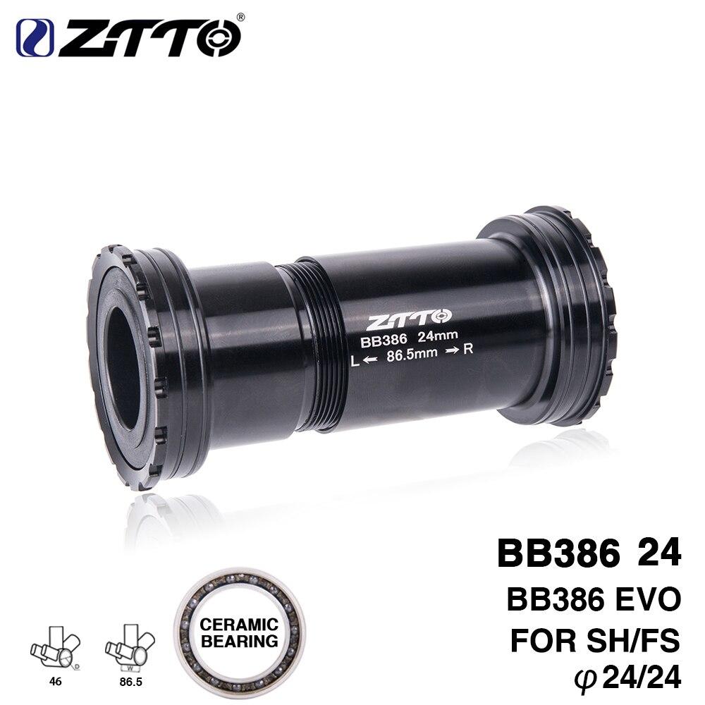 Ztto bb386 cerâmica 24 evo rosqueado lock press ajuste suporte inferior para 386 quadro a 24mm cárter qualidade centro adaptador