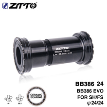 ZTTO BB386 CERAMIC 24 EVO Threaded Lock Press Fit Bottom Bracket for 386 Frame to 24mm Crankset Quality Center Adapter