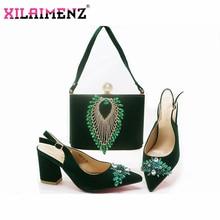 קלאסיקות סגנון נעלי וערכות תיק ירוק צבע נעליים איטלקיות עם שקיות התאמה גבוהה באיכות נשים נעליים ותיק כדי התאמה